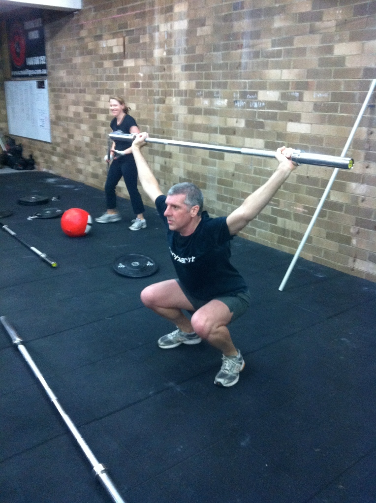 Mark T doing Overhead squats for the first time