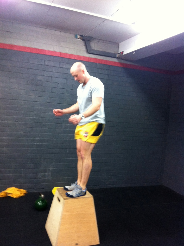 New guy Michael having his first crack at box jumps