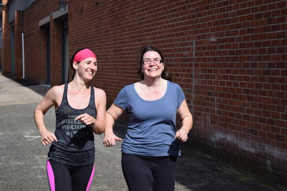 Sharon and Rach enjoying a  run in the sun.