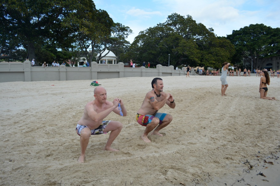 Richie and Robbie hit some good looking squats on the sand
