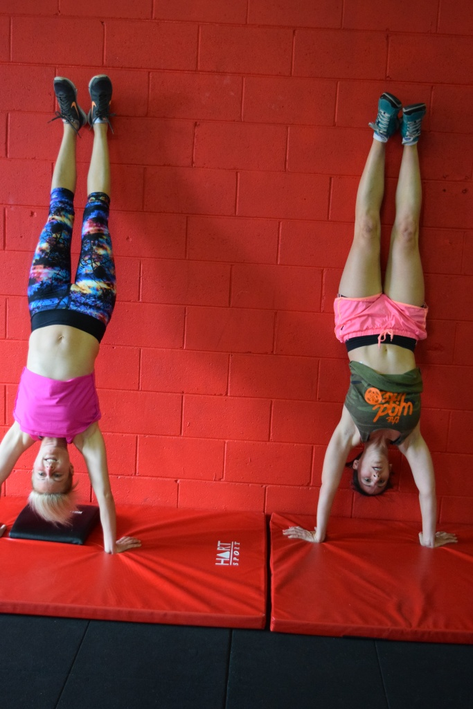 Shar and Shaz getting comfortable with being inverted