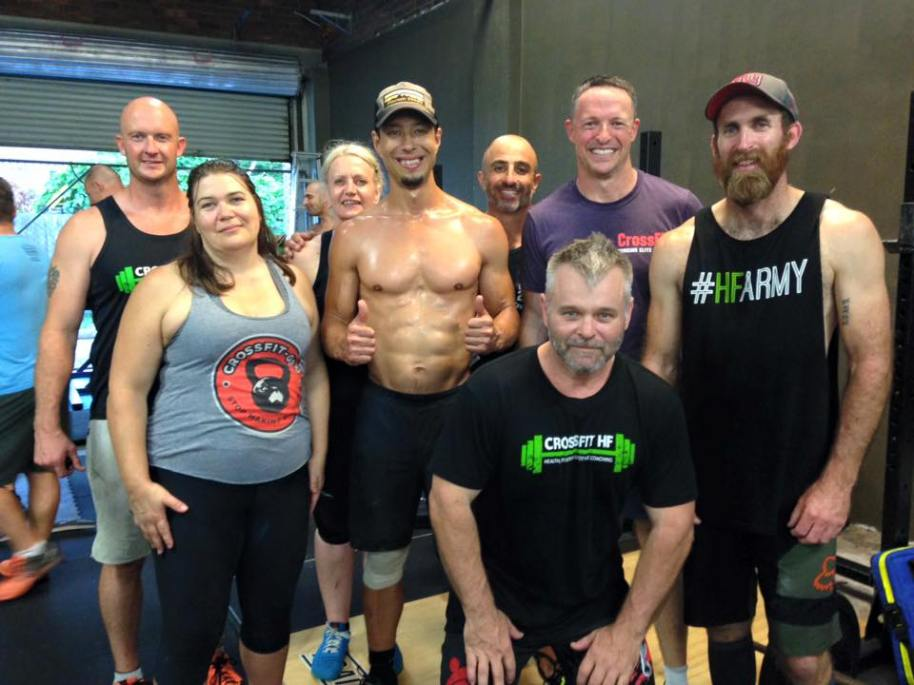 The great thing about competing is that you get to meet a lot of great people.  Here, the GEO oldies hang out with the HF CrossFit oldies.  Bonding through pain and suffering.