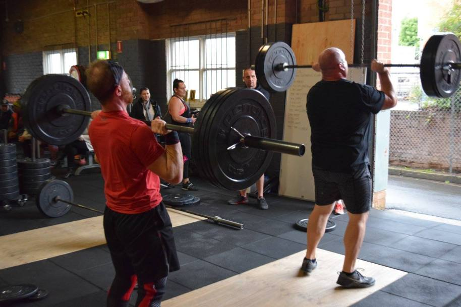 Brad and Mark hit their Clusters during the Masters League running of today's WOD
