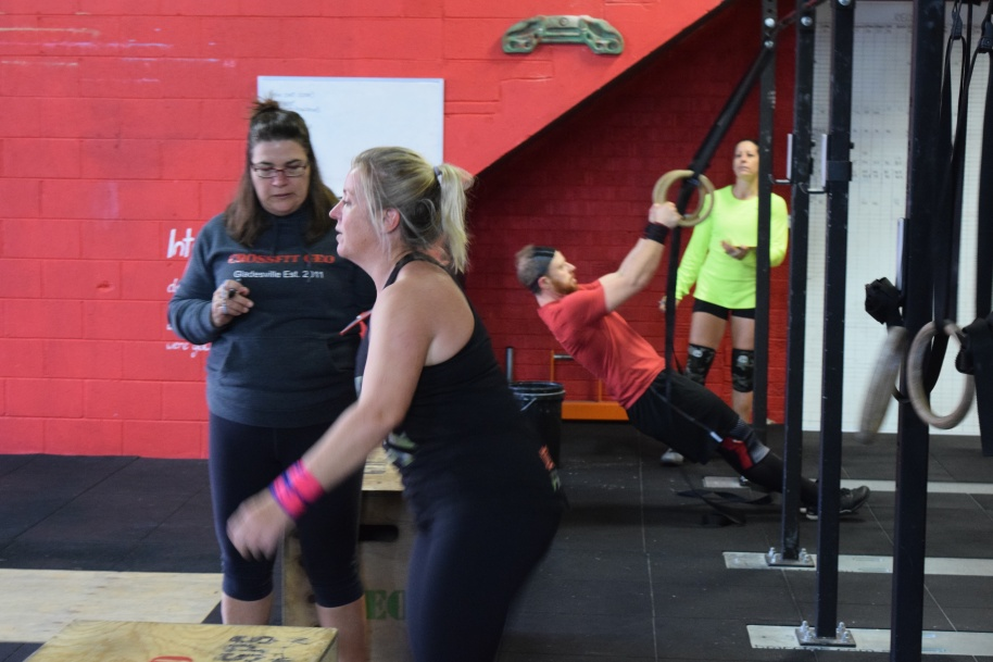 Lucy going for it during the first WOD of the Masters League