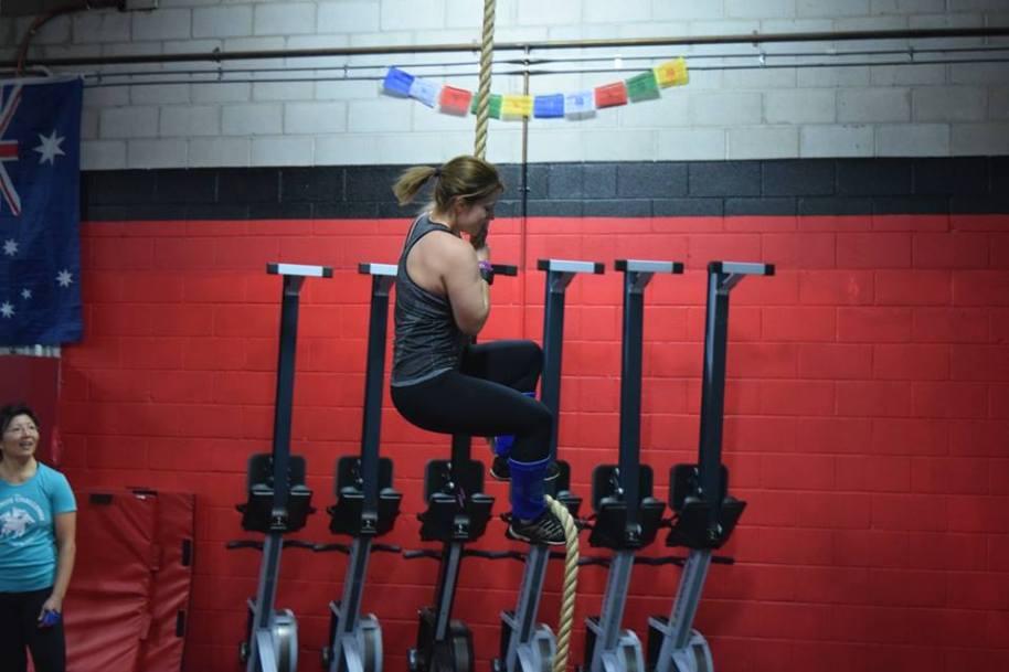 Erika hitting the rope